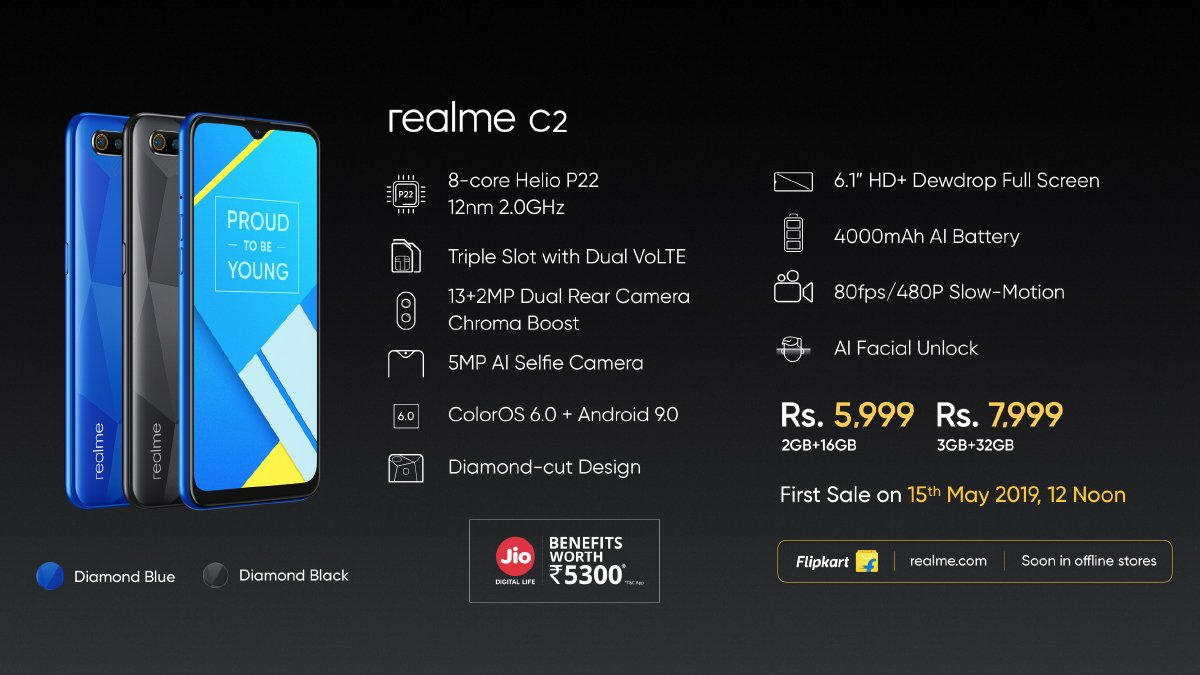 Realme C2 with 6 1-inch HD+ Dewdrop display, 2GB/3GB of RAM and